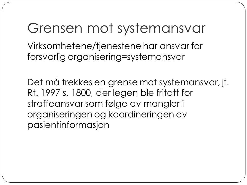 Grensen mot systemansvar