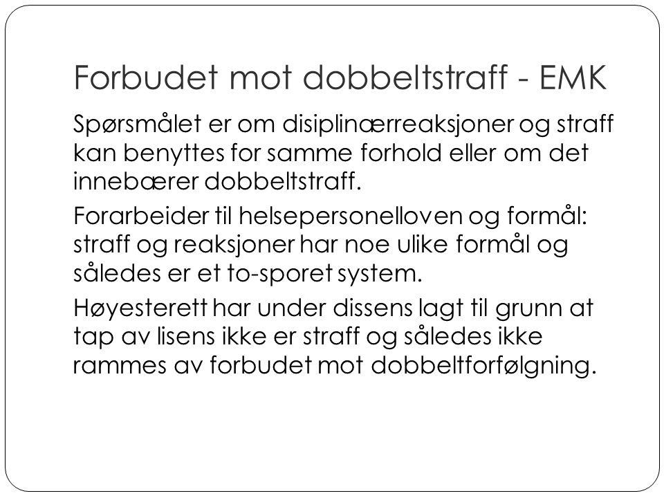 Forbudet mot dobbeltstraff - EMK