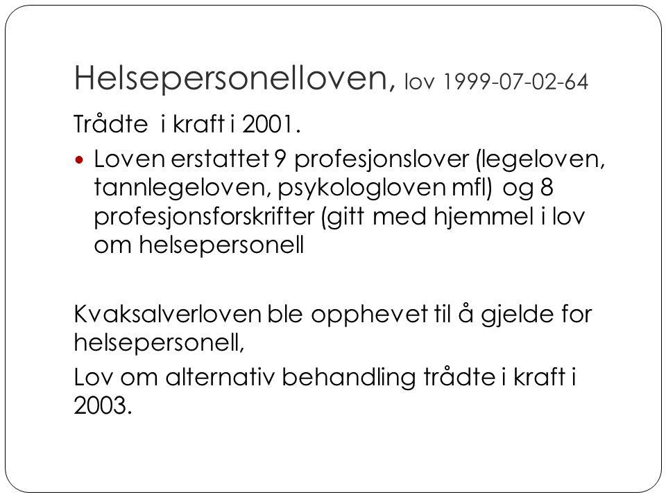 Helsepersonelloven, lov 1999-07-02-64
