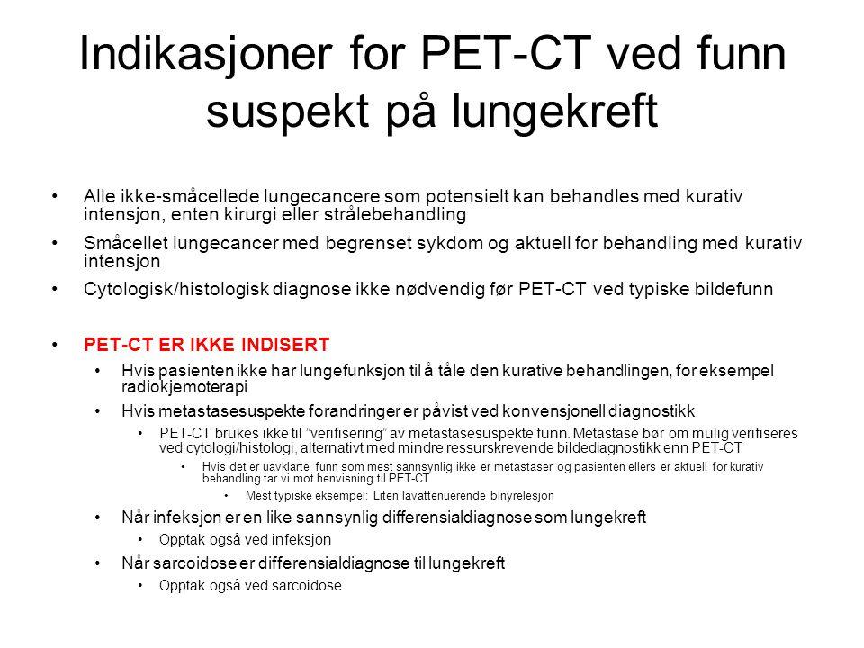 Indikasjoner for PET-CT ved funn suspekt på lungekreft
