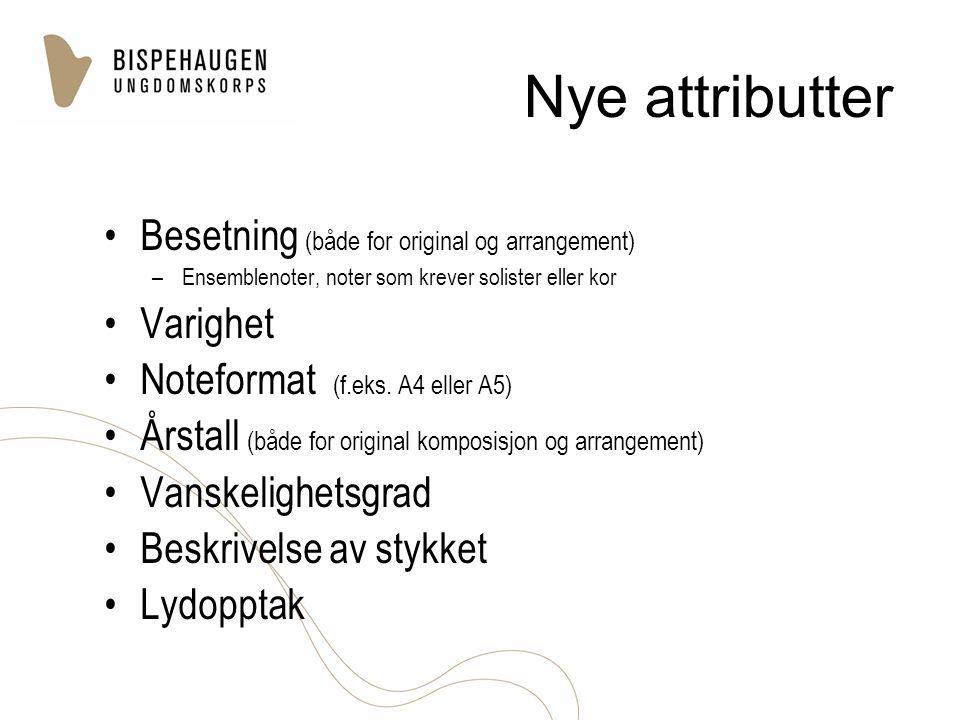 Nye attributter Besetning (både for original og arrangement) Varighet