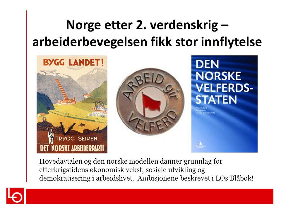 Norge etter 2. verdenskrig – arbeiderbevegelsen fikk stor innflytelse