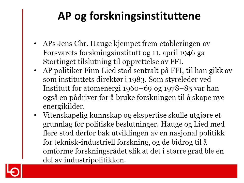 AP og forskningsinstituttene