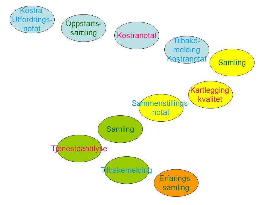 Kostra Utfordrings- notat. Oppstarts- samling. Kostranotat. Samling. Kartlegging kvalitet. Sammenstillings-