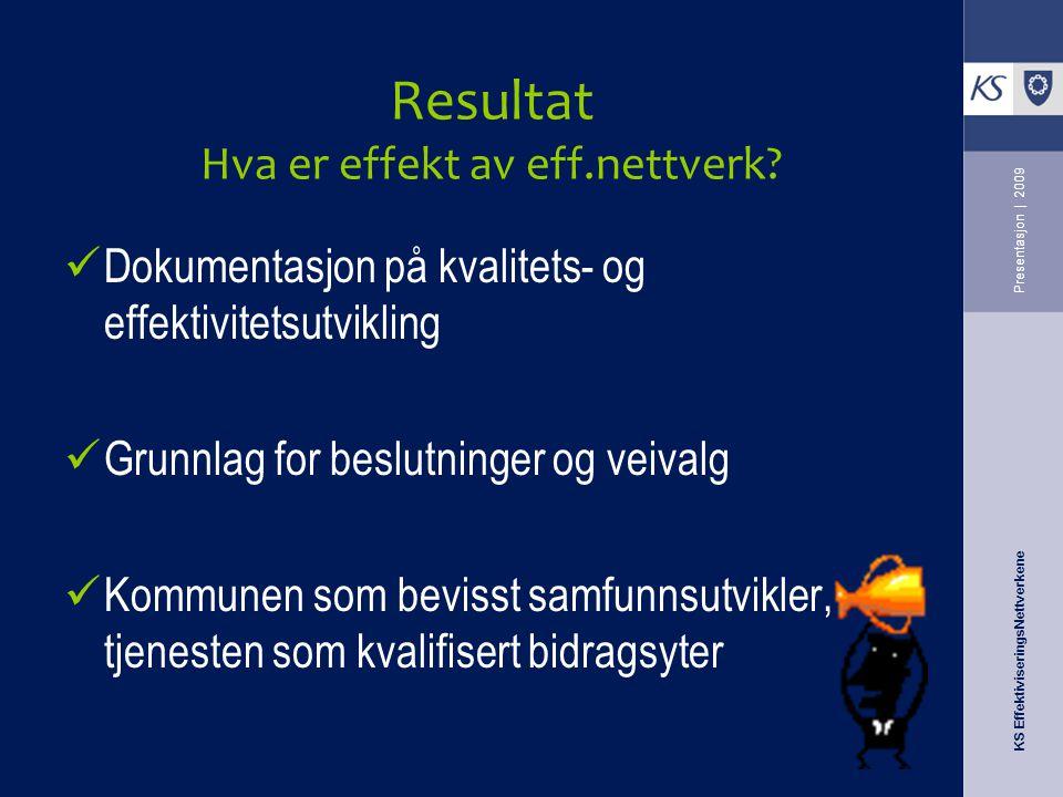 Resultat Hva er effekt av eff.nettverk