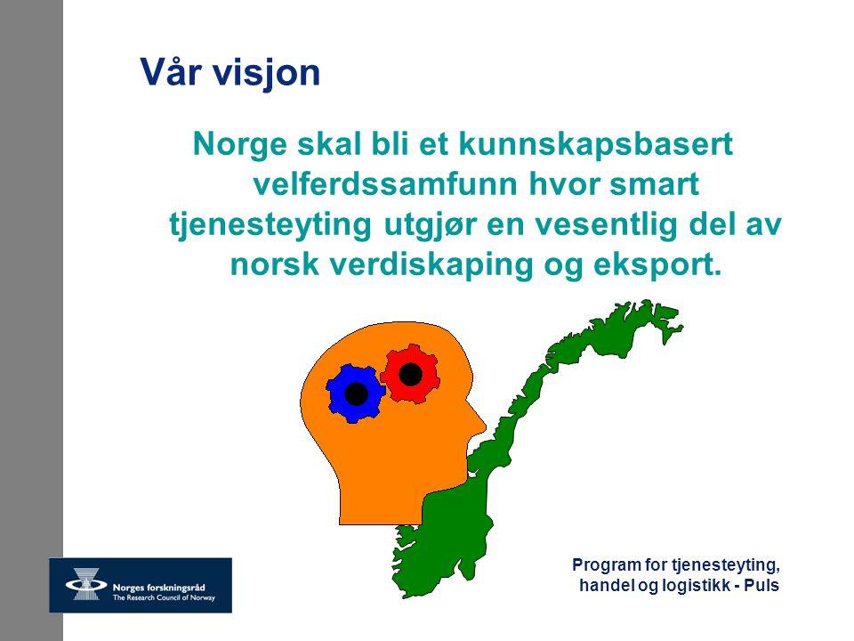 Vår visjon Norge skal bli et kunnskapsbasert velferdssamfunn hvor smart tjenesteyting utgjør en vesentlig del av norsk verdiskaping og eksport.
