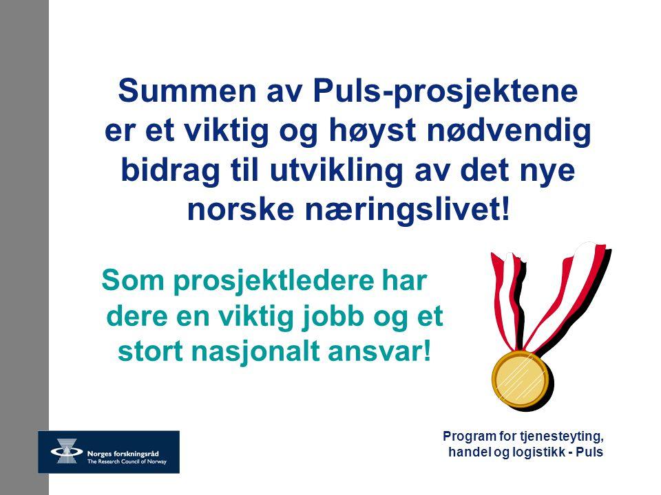 Summen av Puls-prosjektene er et viktig og høyst nødvendig bidrag til utvikling av det nye norske næringslivet!