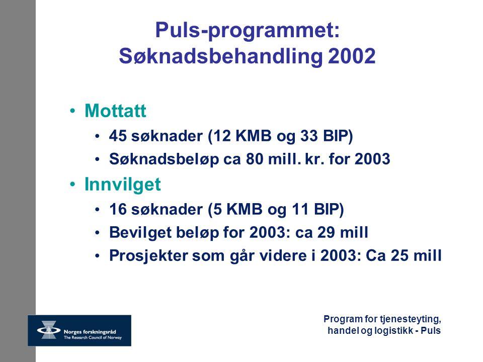 Puls-programmet: Søknadsbehandling 2002
