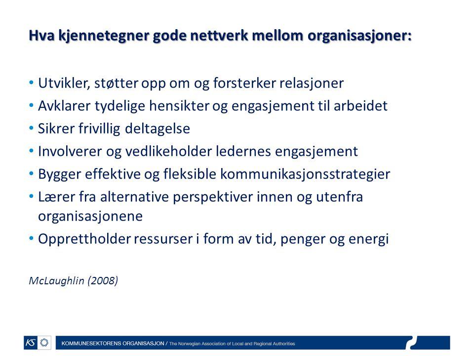 Hva kjennetegner gode nettverk mellom organisasjoner: