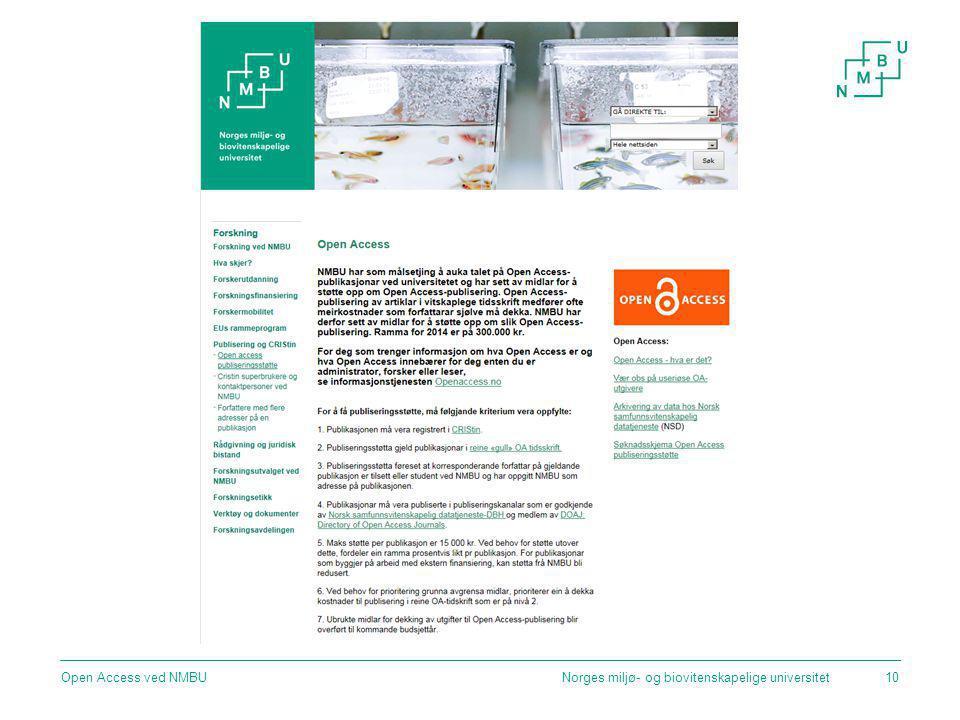 Open Access ved NMBU Norges miljø- og biovitenskapelige universitet