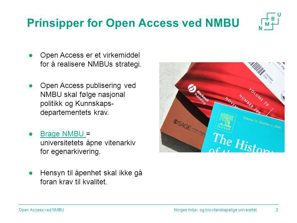 Prinsipper for Open Access ved NMBU