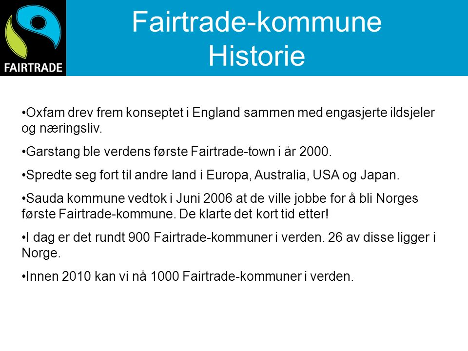 Fairtrade-kommune Historie