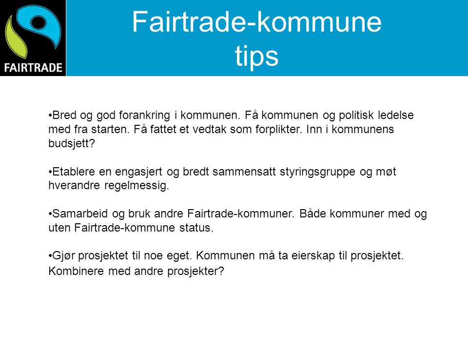 Fairtrade-kommune tips