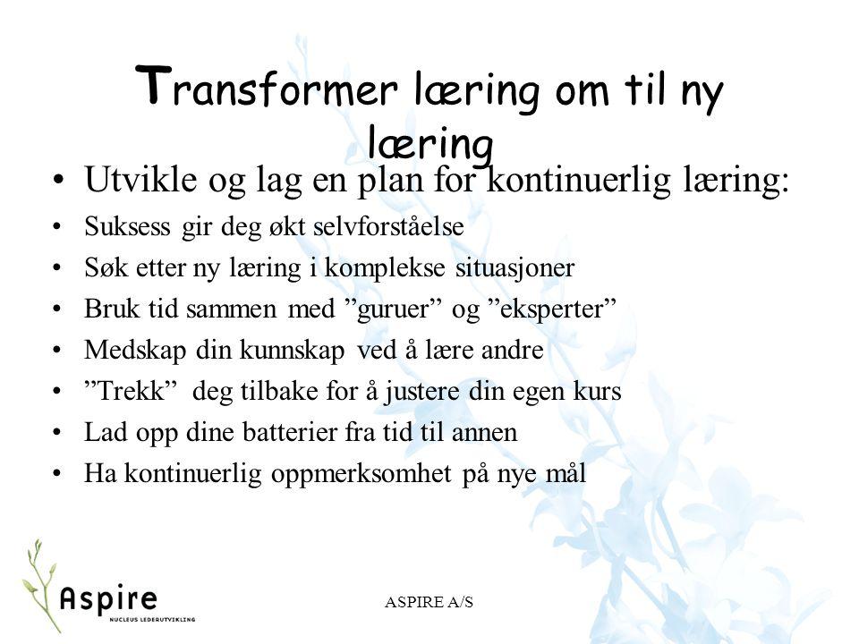 Transformer læring om til ny læring