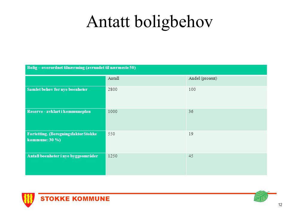 Antatt boligbehov Bolig – overordnet tilnærming (avrundet til nærmeste 50) Antall. Andel (prosent)