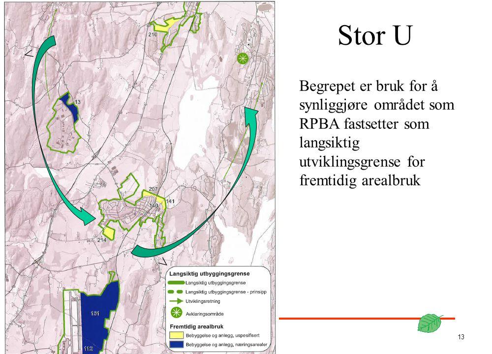 Stor U < Begrepet er bruk for å synliggjøre området som RPBA fastsetter som langsiktig utviklingsgrense for fremtidig arealbruk.