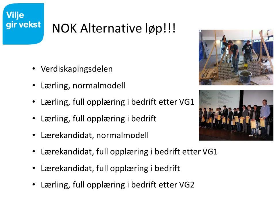 NOK Alternative løp!!! Verdiskapingsdelen Lærling, normalmodell