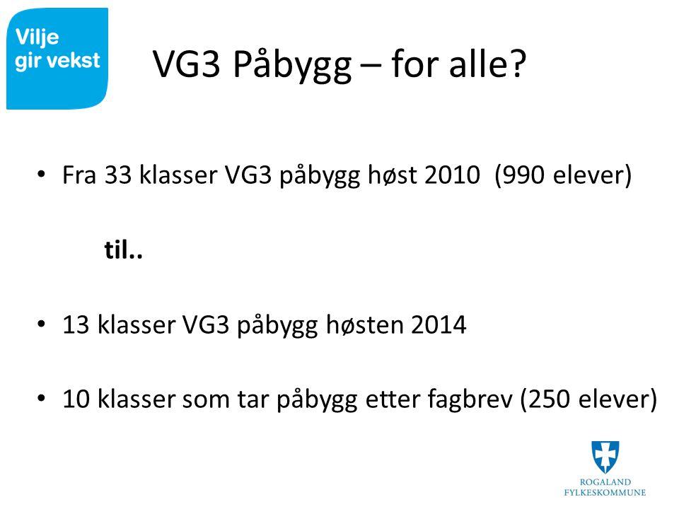 VG3 Påbygg – for alle Fra 33 klasser VG3 påbygg høst 2010 (990 elever) til.. 13 klasser VG3 påbygg høsten 2014.