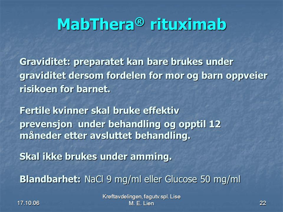 Kreftavdelingen, fagutv.spl. Lise M. E. Lien