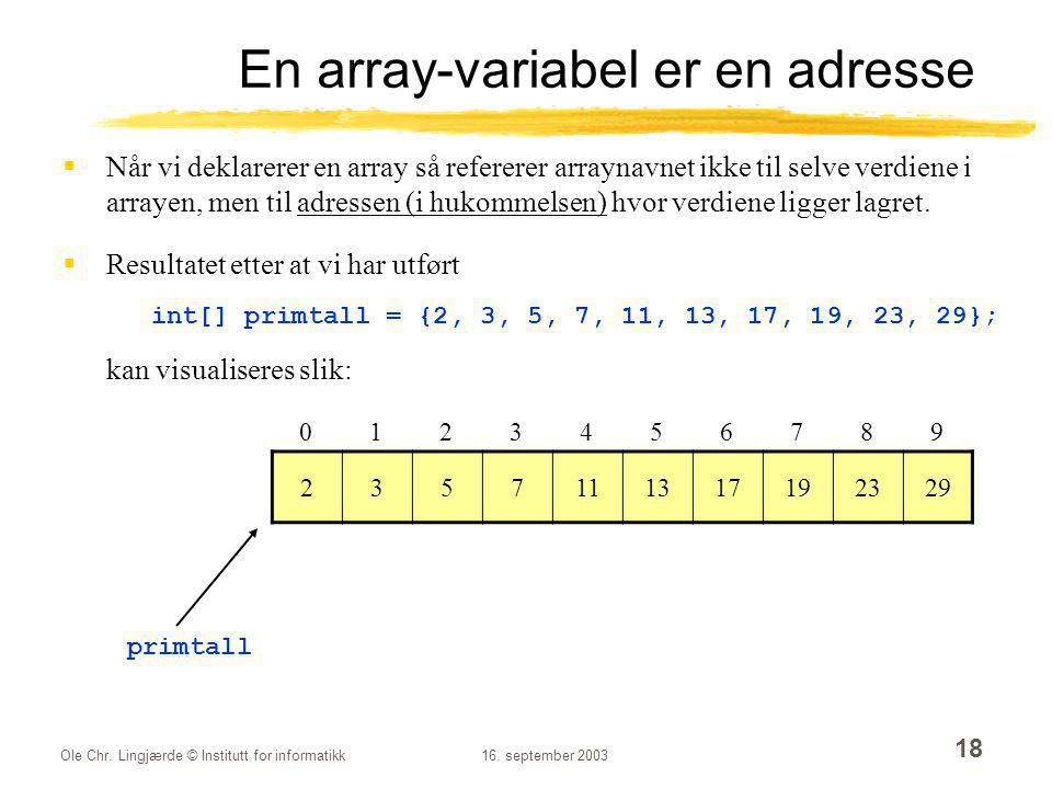 En array-variabel er en adresse