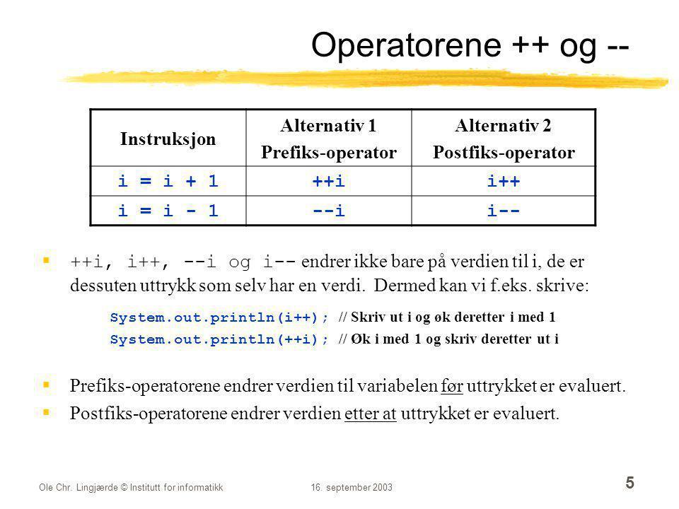 Operatorene ++ og -- Instruksjon Alternativ 1 Prefiks-operator