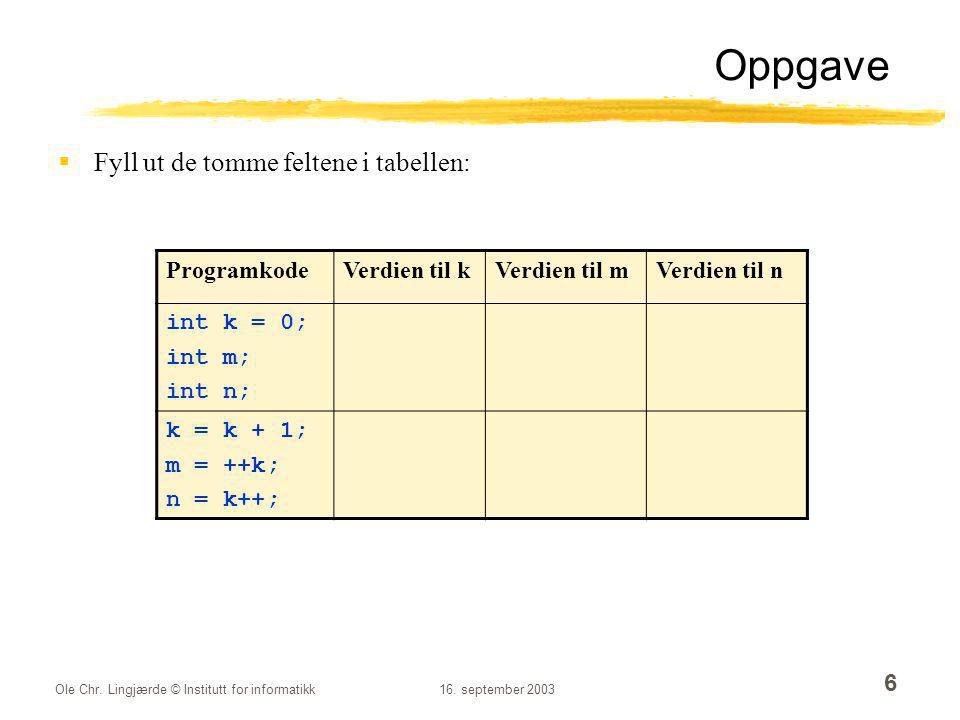 Oppgave Fyll ut de tomme feltene i tabellen: Programkode Verdien til k