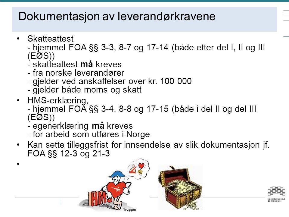 Dokumentasjon av leverandørkravene