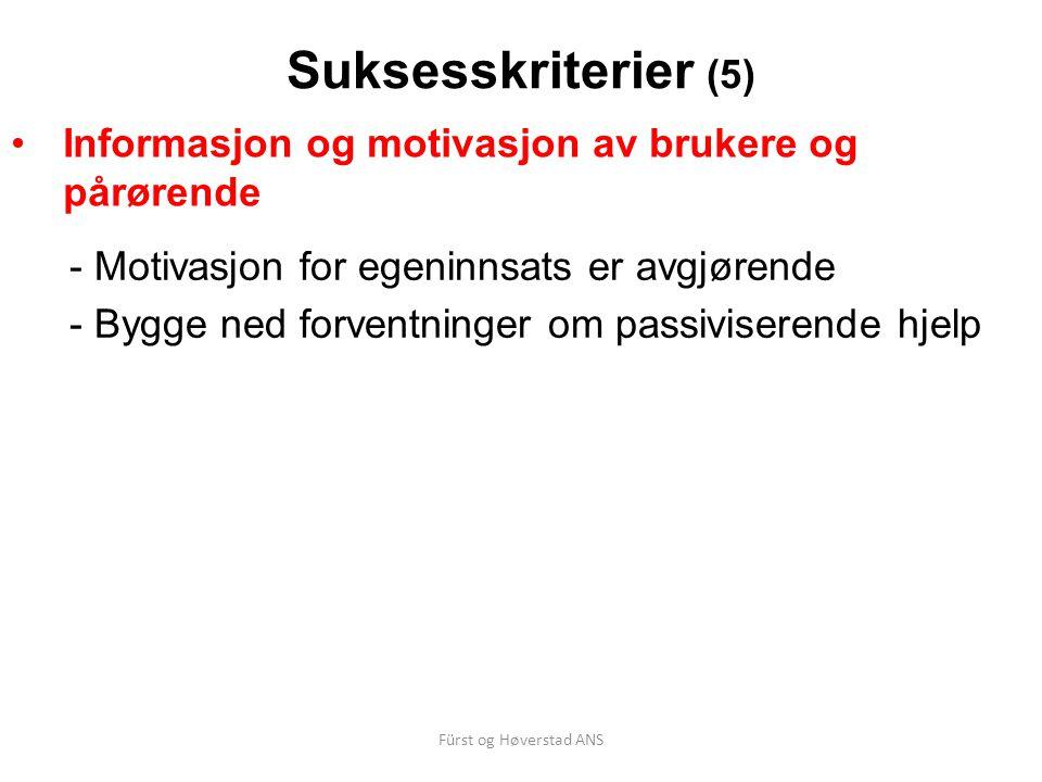 Suksesskriterier (5) Informasjon og motivasjon av brukere og pårørende