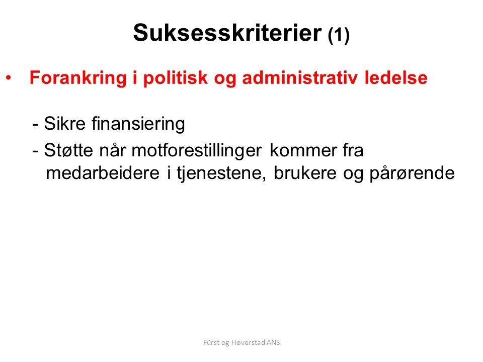 Suksesskriterier (1) Forankring i politisk og administrativ ledelse