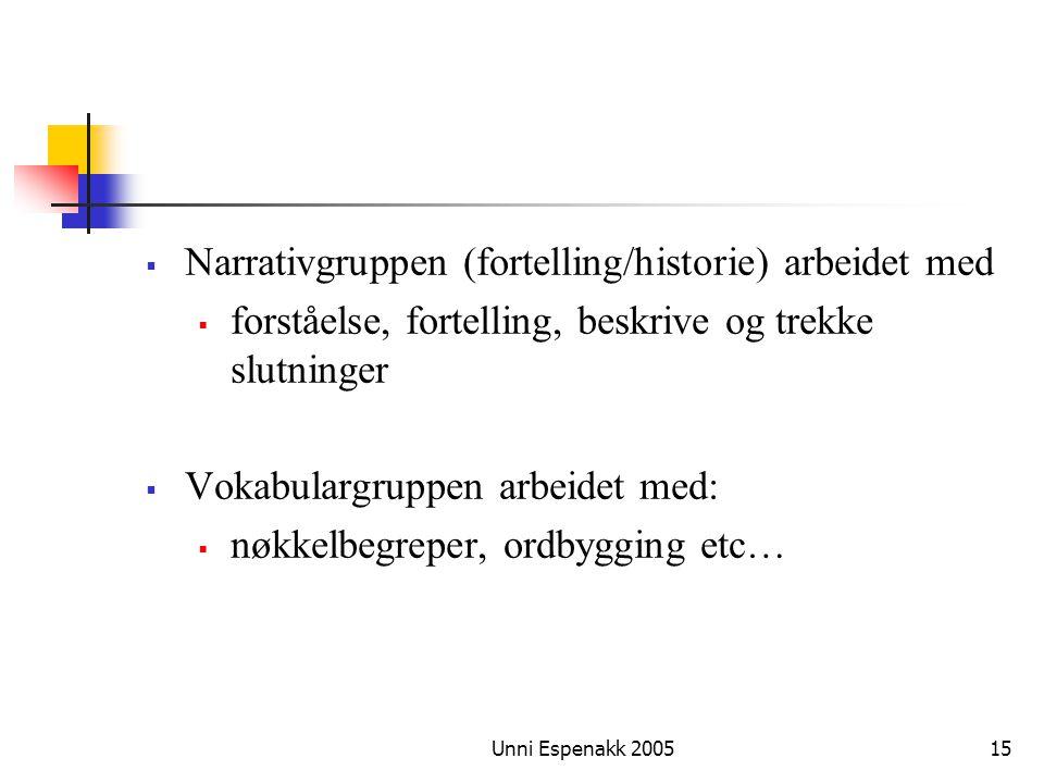 Narrativgruppen (fortelling/historie) arbeidet med