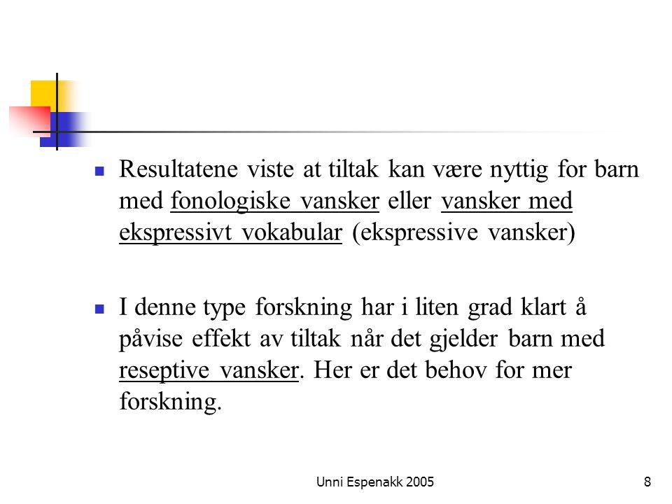 Resultatene viste at tiltak kan være nyttig for barn med fonologiske vansker eller vansker med ekspressivt vokabular (ekspressive vansker)