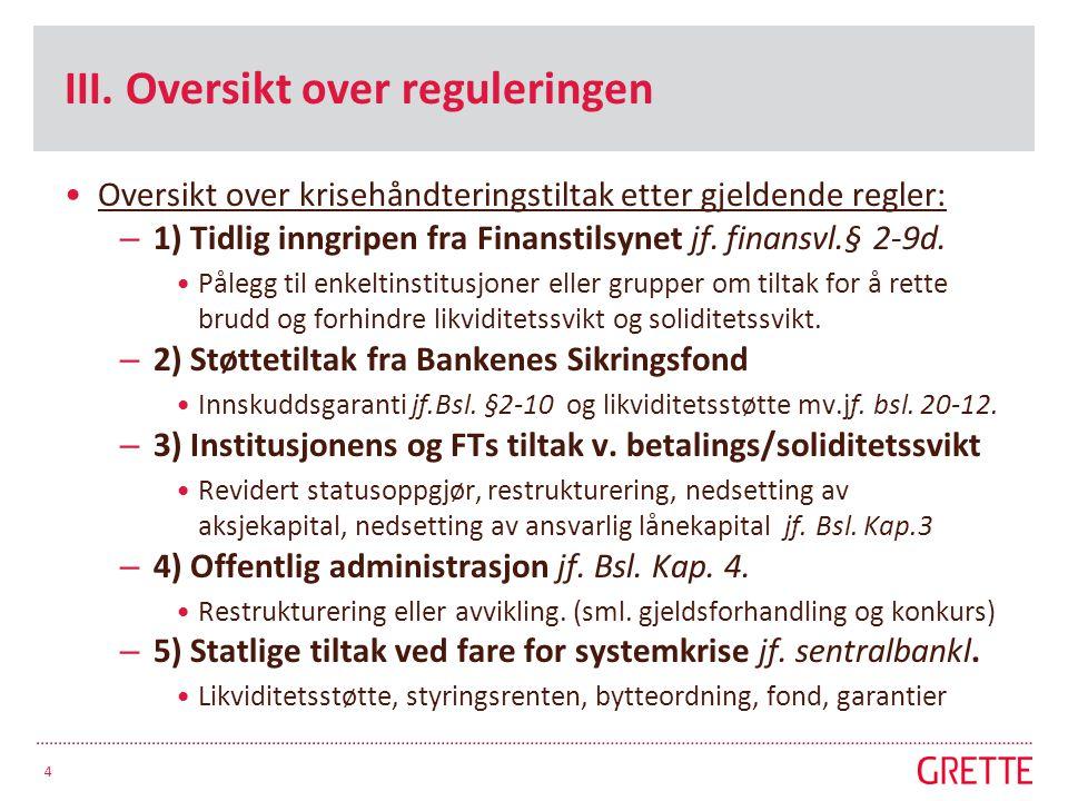 III. Oversikt over reguleringen