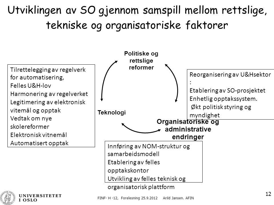 Organisatoriske og administrative endringer