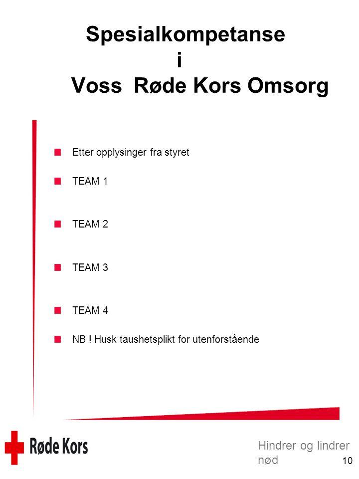 Spesialkompetanse i Voss Røde Kors Omsorg