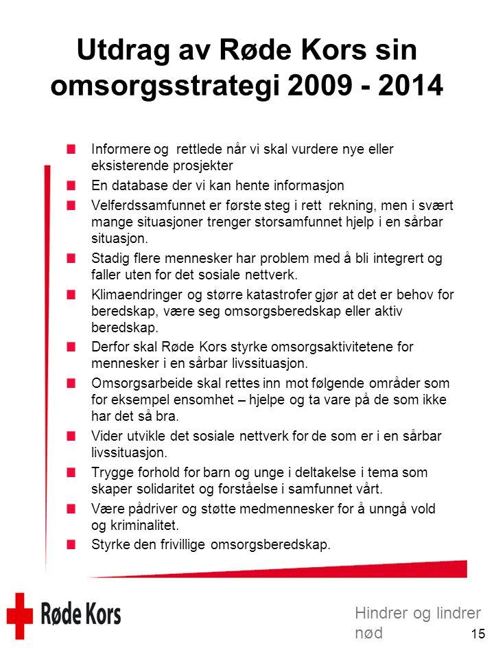 Utdrag av Røde Kors sin omsorgsstrategi 2009 - 2014