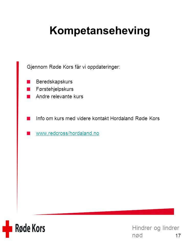 Kompetanseheving Gjennom Røde Kors får vi oppdateringer: