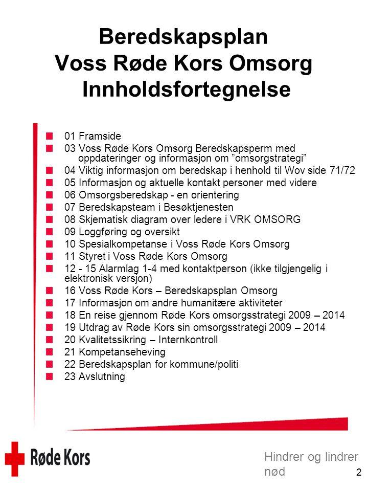 Beredskapsplan Voss Røde Kors Omsorg Innholdsfortegnelse