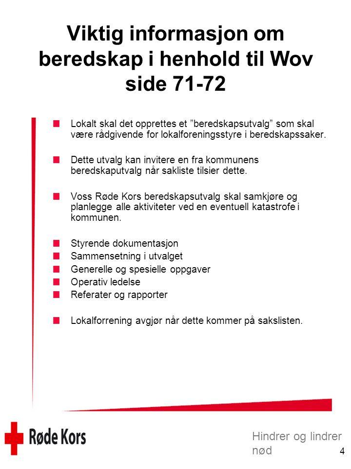 Viktig informasjon om beredskap i henhold til Wov side 71-72