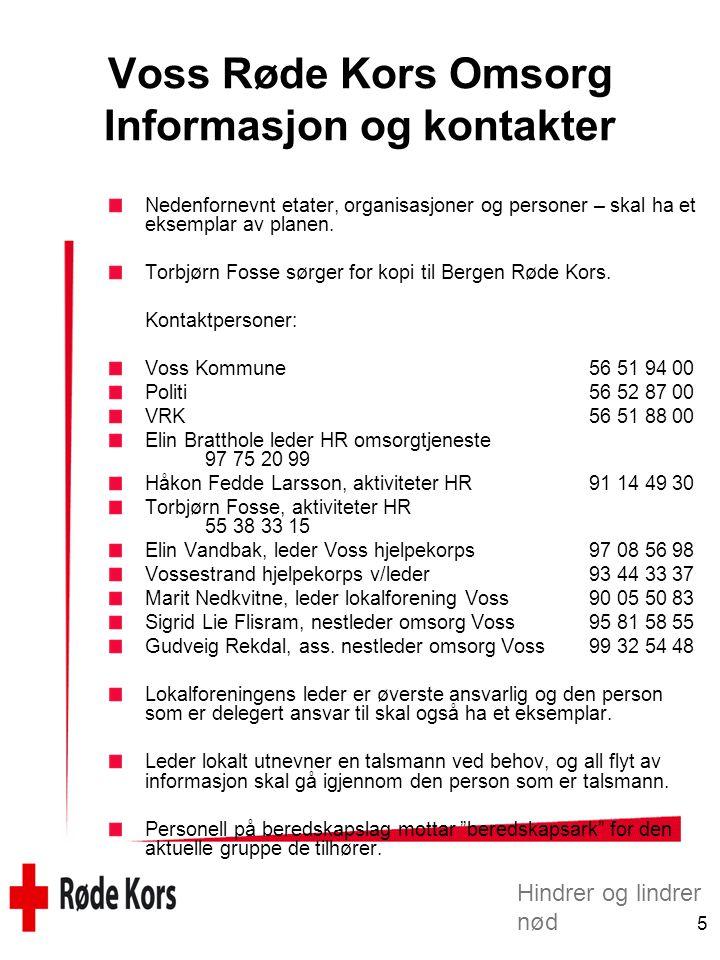 Voss Røde Kors Omsorg Informasjon og kontakter