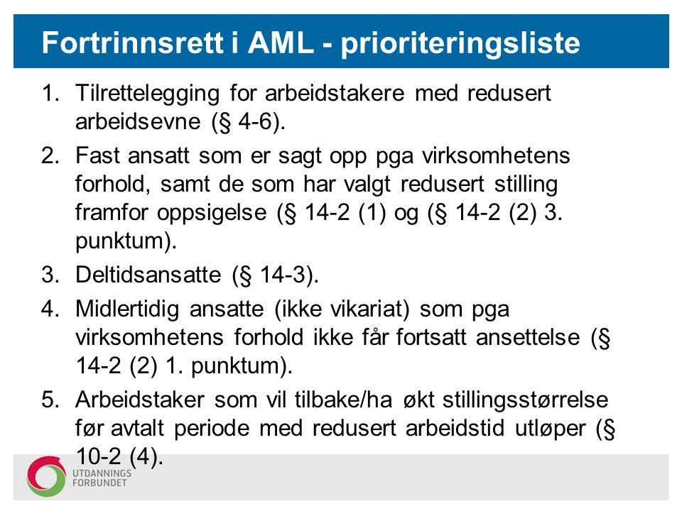 Fortrinnsrett i AML - prioriteringsliste