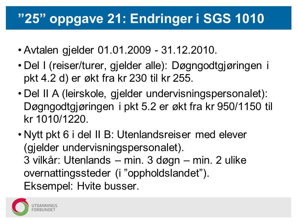 25 oppgave 21: Endringer i SGS 1010