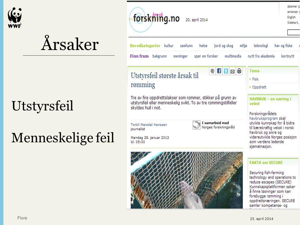 Årsaker Utstyrsfeil Menneskelige feil Florø 25. april 2014