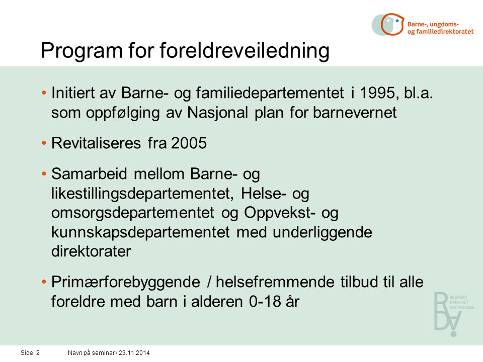 Program for foreldreveiledning