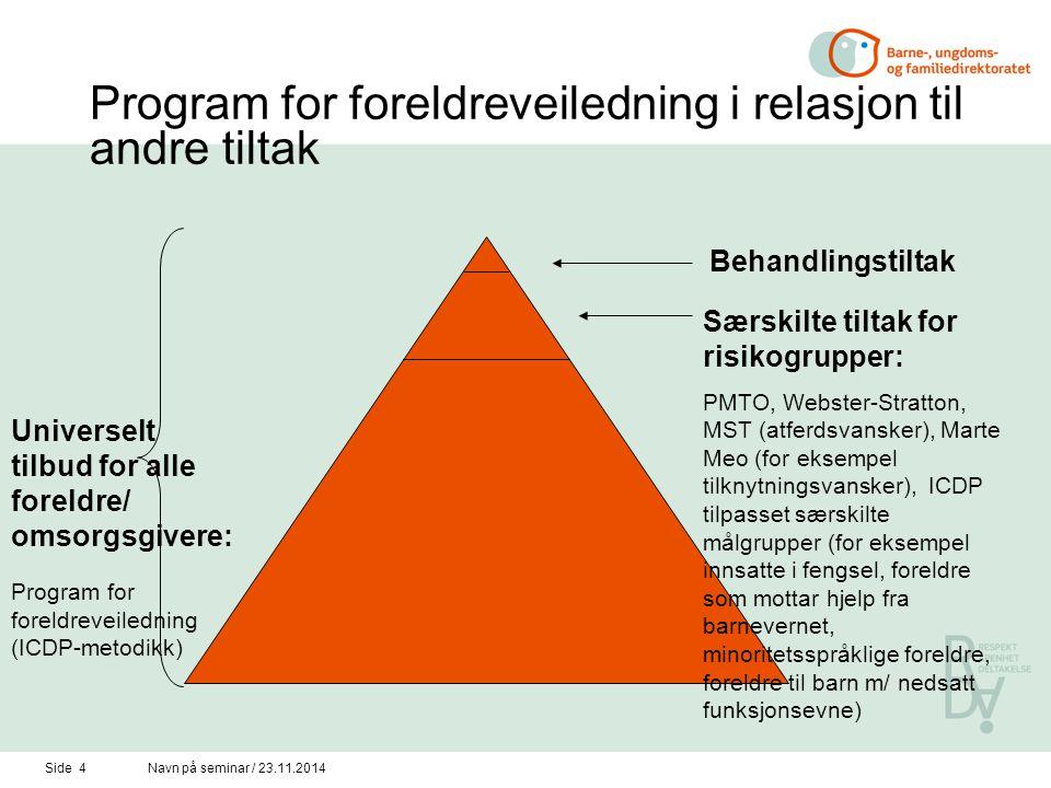 Program for foreldreveiledning i relasjon til andre tiltak