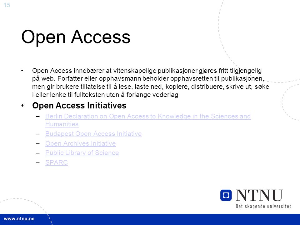 Open Access Open Access Initiatives