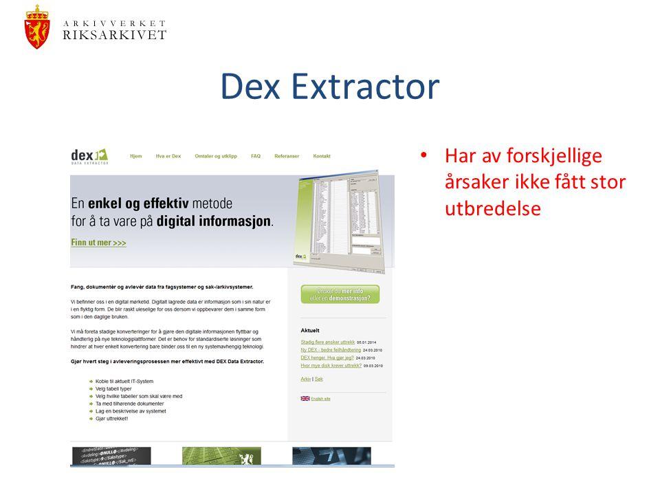 Dex Extractor Har av forskjellige årsaker ikke fått stor utbredelse