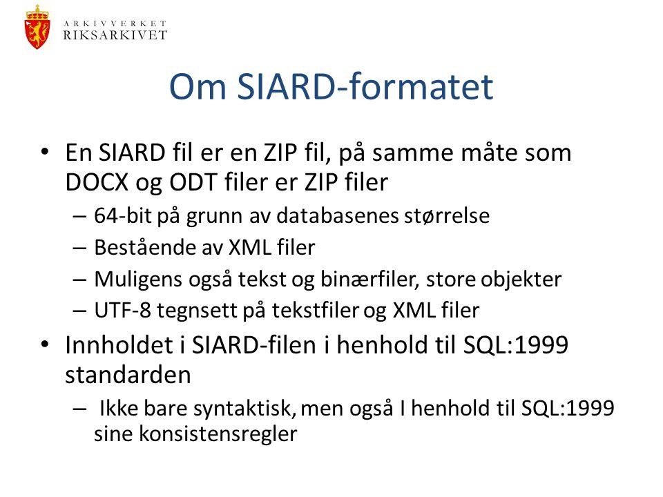Om SIARD-formatet En SIARD fil er en ZIP fil, på samme måte som DOCX og ODT filer er ZIP filer. 64-bit på grunn av databasenes størrelse.
