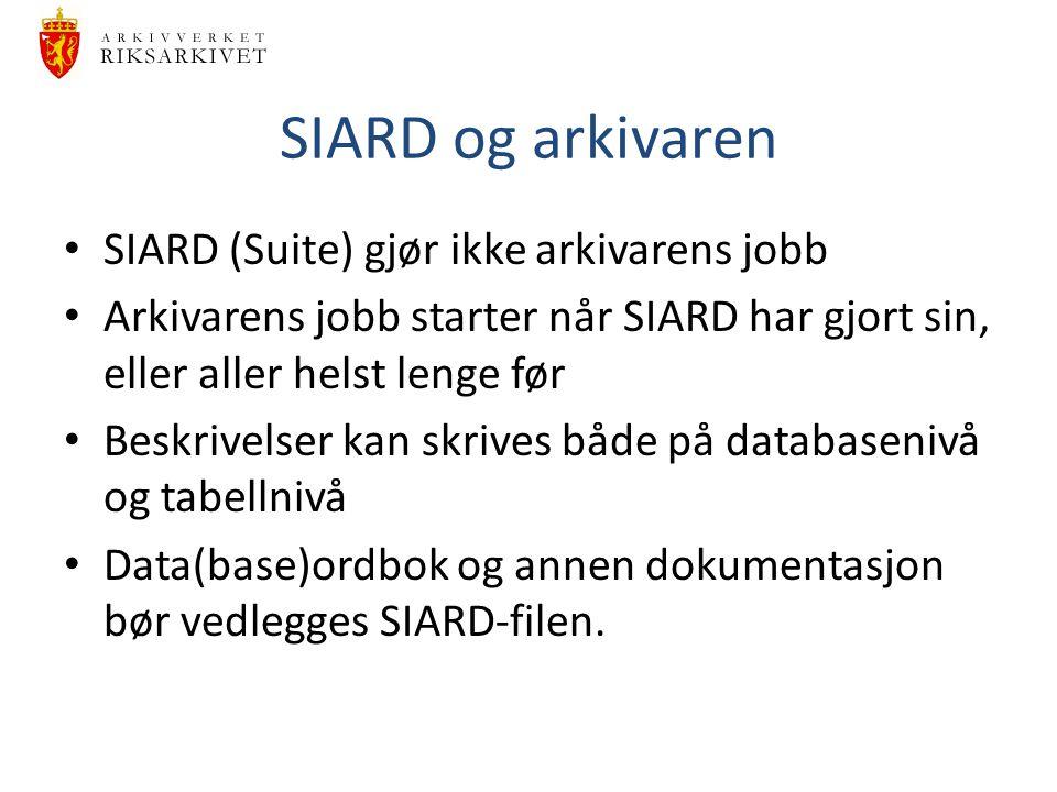 SIARD og arkivaren SIARD (Suite) gjør ikke arkivarens jobb