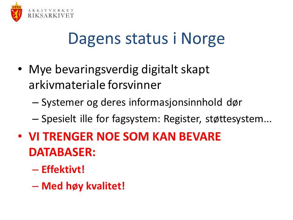 Dagens status i Norge Mye bevaringsverdig digitalt skapt arkivmateriale forsvinner. Systemer og deres informasjonsinnhold dør.
