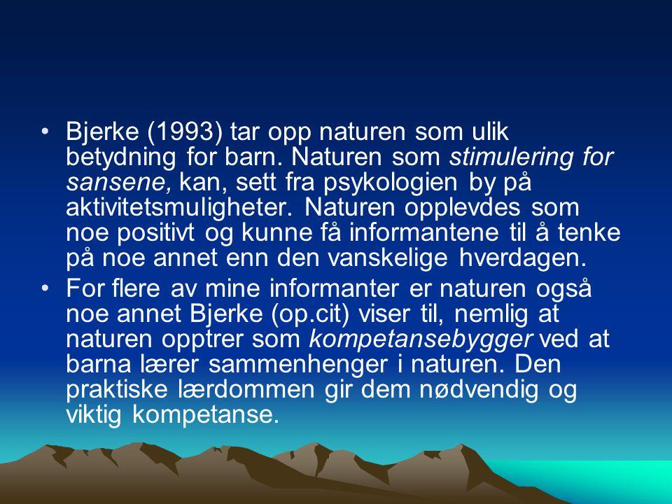 Bjerke (1993) tar opp naturen som ulik betydning for barn